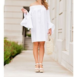 Soprano White Dress Off the Shoulders Tie Back
